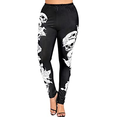 ABASSKY Women's Fashion High Waist Yoga Sport Pants Plus Size Gym Running Yoga Athletic Pants in Long Yoga Pants Skulls Leggings