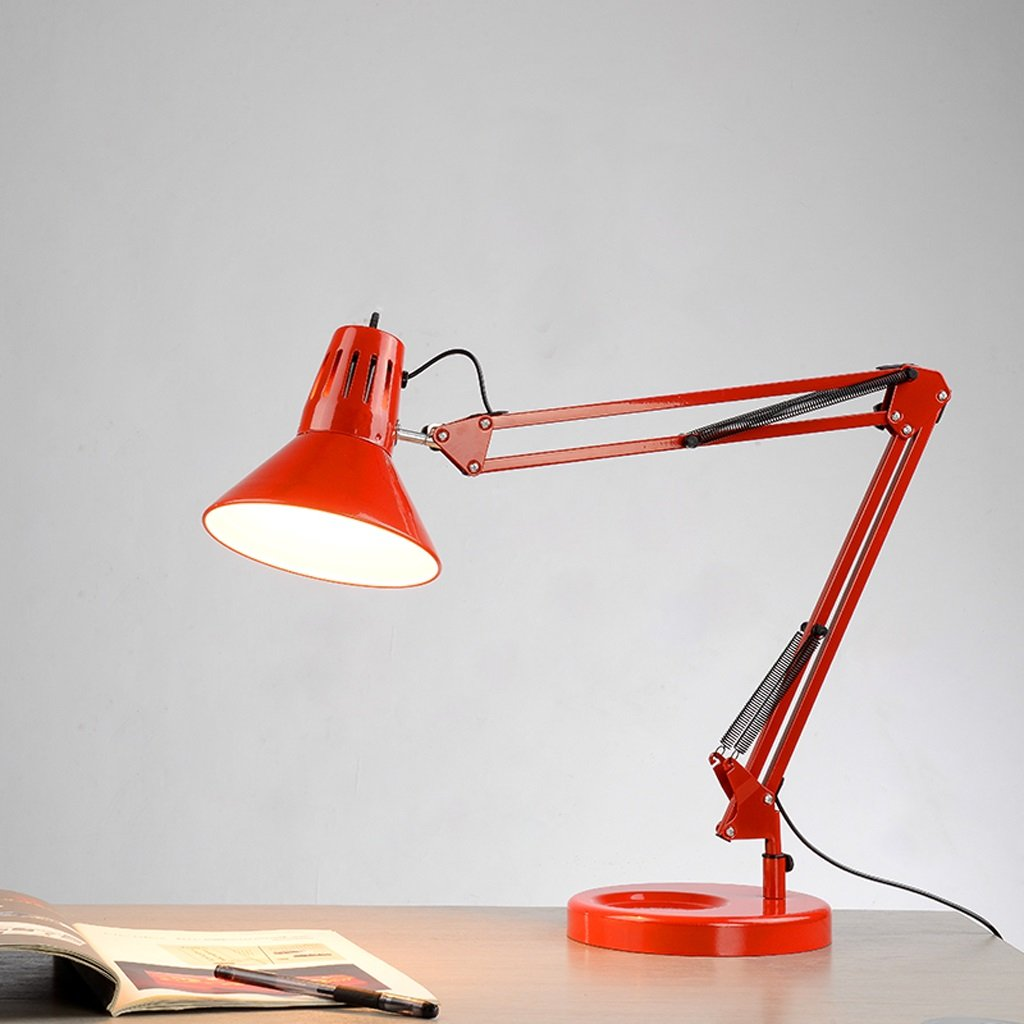 LILY Nordic Protect Eyes Learn Energy-Saving Lamp The Long Arm Folding Bed Bedroom Minimalist Table Lamp E27 1 Color : Red