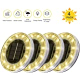 [Newest] Litake Solar Ground Lights Outdoor 12 LED Disk Solar Lights Warm White, IP68 Waterproof Bright In-Ground Lights for Pathway Landscape Walkway Deck Patio Garden Lawn Yard Driveway- 4 Pack