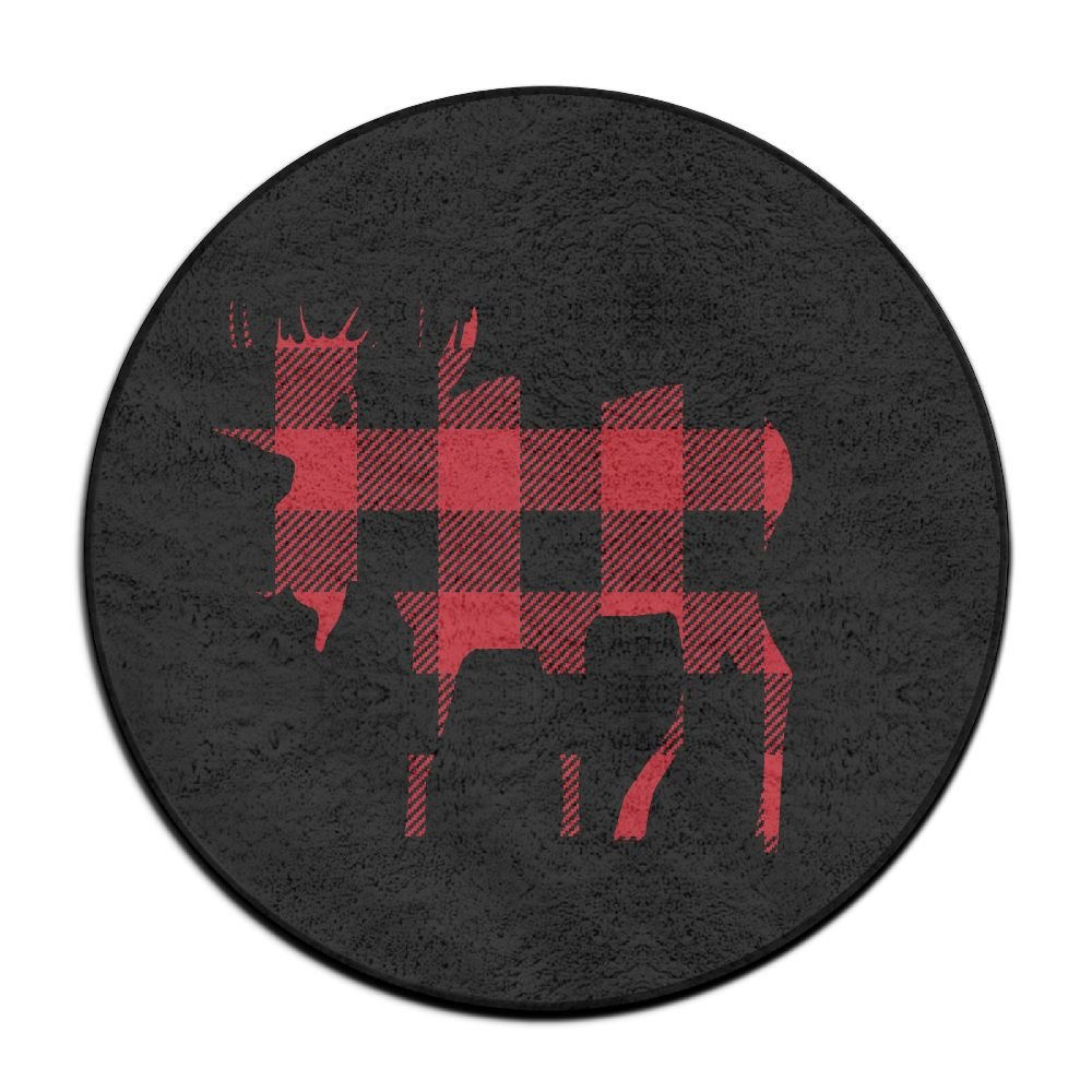 Buffalo Plaid Moose Lumberjack Red Black Design Ultra Soft Indoor Modern Area Rugs Fluffy Living Room Carpets Suitable for Children Bedroom Home Decor Nursery Rugs Diameter Size: (23.6/0.4) inch Yiot