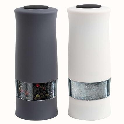 Sal y Pimienta Eléctrico (Dos Piezas – Molinillo de sal (Acero Inoxidable Negro Blanco (Sal y Pimienta (eléctrico, molinillo para especias, ...
