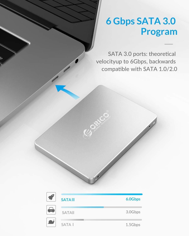 Aluminum M.2 SATA and mSATA SSD to 2.5-Inch SATA III Converter Card with 7mm Case Enclosure ORICO mSATA//M.2 NGFF SSD Enclosure Adapter B//B+M Key NGFF