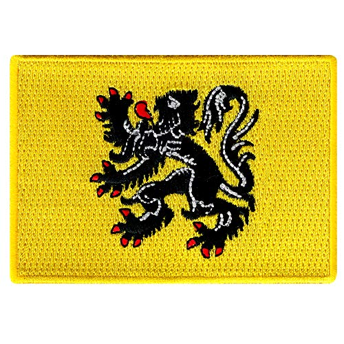 Flemish Flanders Flag Embroidered Patch Iron-On Belgium Lion Emblem