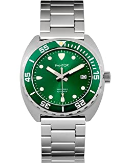 Pantor Sealion 300m Mens Automatic 42mm Pro Dive Watch with Helium Valve Rotating Bezel Sapphire Bracelet