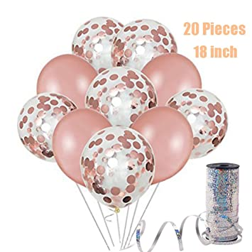 45cm Rose Gold Ballon Deko Set 20 Beutel Rose Gold Konfetti