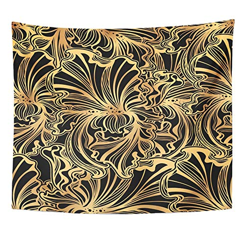 Emvency Tapestry Wall Hanging Abstract of Flowers and Leaves Irises in Vintage Style Nouveau Gold on Black 50