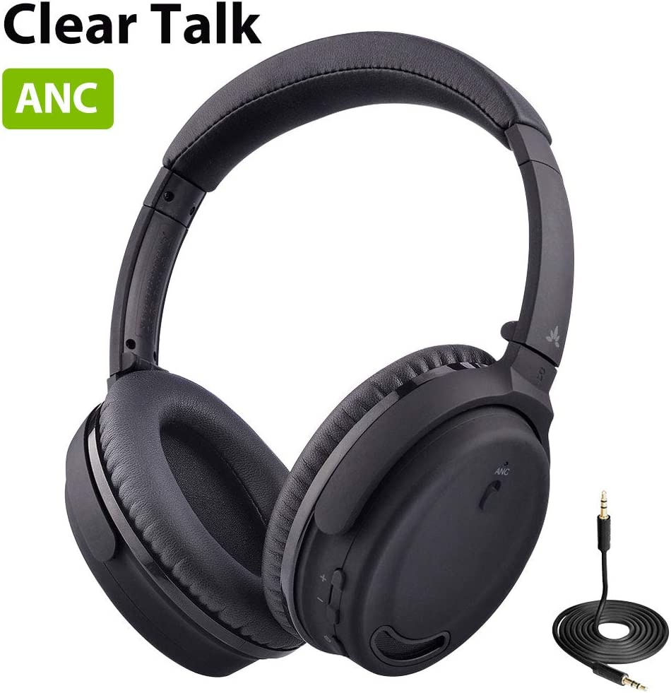 Avantree Active Noise Cancelling Headphones Over Ear with Microphone for Home Office