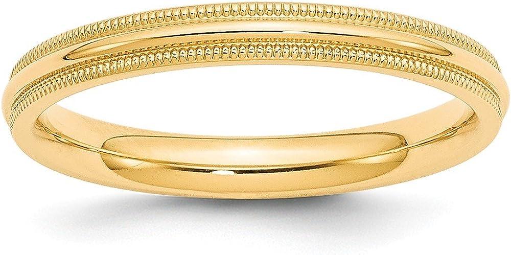 Best Designer Jewelry 14KY 3mm Milgrain Comfort Fit Band Size 8.5