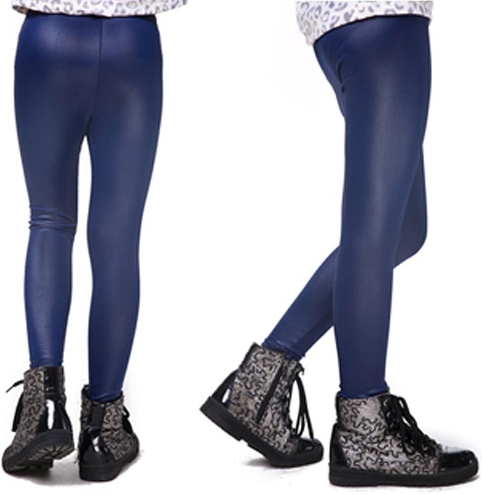 XFentech Ni/ñas El/ásticos Leggings Ni/ños Imitaci/ón de Cuero Pantalones Moda Polainas