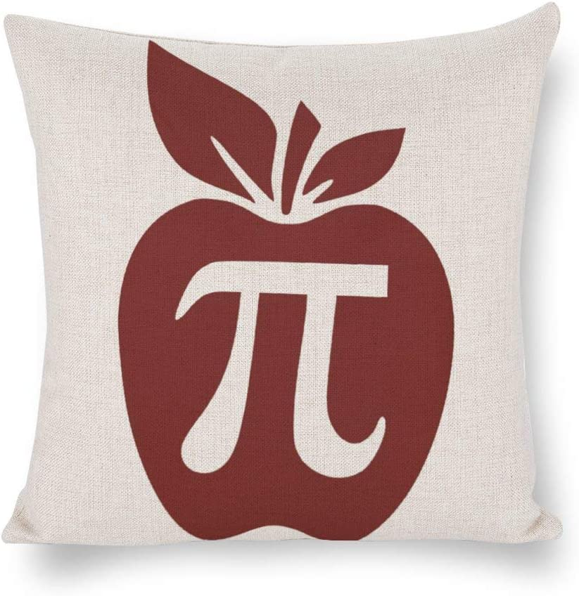 BYRON HOYLE Apple Pi Tote Bag, Cushion Cover,Back to School Throw Pillow Cover,Rustic Linen Decorative Lumbar Pillowcase for Chair Room Sofa car,Home Decor,Housewarming Gift 1818 Inch