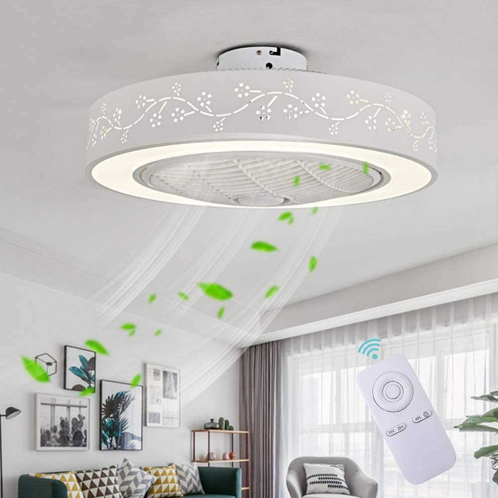 Ventilador De Techo LED Lámpara, Creative 40W Regulable Ventilador De Techo Invisible Lámpara Luz De Techo del Ventilador De Bajo Ruido Adecuado para Sala De Estar Dormitorio Habitación Infantil