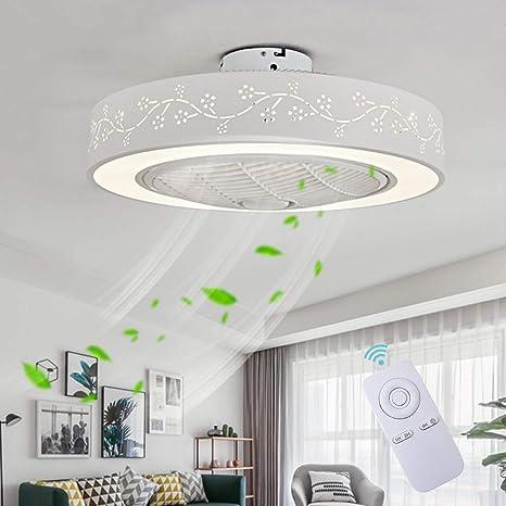 Ventilador De Techo LED Lámpara, Creative 40W Regulable Ventilador De Techo Invisible Lámpara Luz De Techo del Ventilador De Bajo Ruido Adecuado para ...