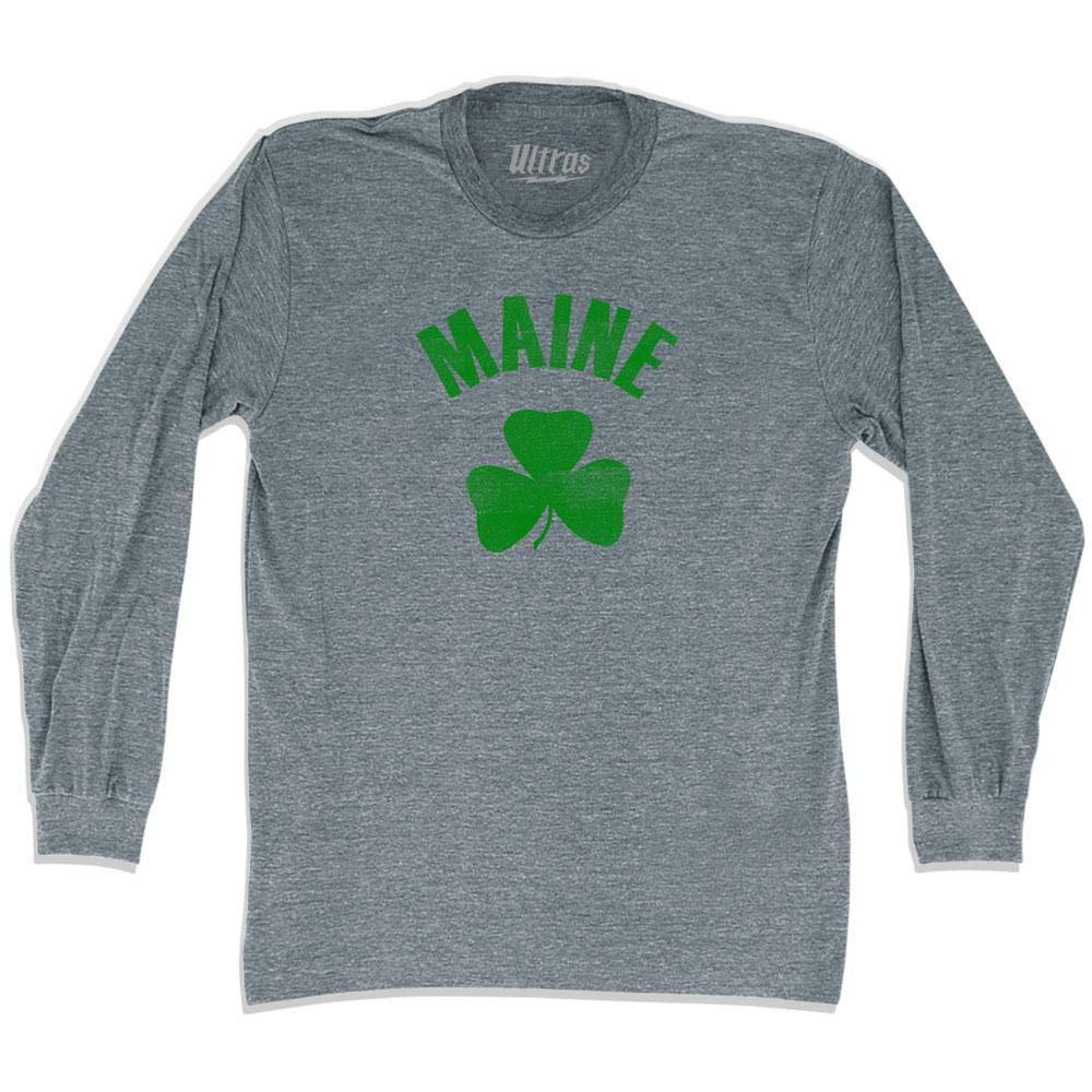 Maine State Shamrock Tri-Blend Long Sleeve T-Shirt