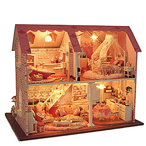 Rylai 3D Puzzles Wooden Handmade Miniature Dollhouse DIY Kit w/ Light-Pink Sweetheart Series Dollhouses Accessories Dolls Houses with Furniture & LED & Music Box Best Xmas Gift for Women and Girls -