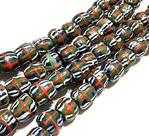 Dark slate Blue with Sienna Red medium sea green round Krobo powderglass fairtrade African Beads from - African Slate