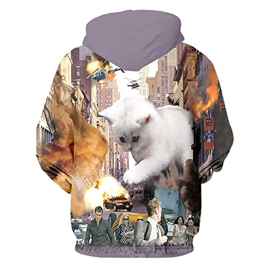 Sudaderas Hombre Hip Hop Leisure Zipper Jacket Print Animal Cat 3D Hoodie Sweatshirt at Amazon Mens Clothing store: