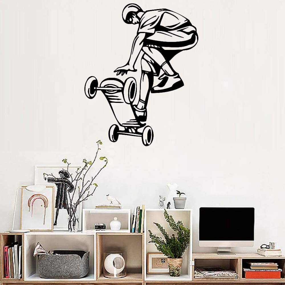supmsds Art Skateboard Ride Boy Etiqueta de la Pared Mural Big Hall Wallpaper Adolescente Room Wall Wall Sticker decoración póster extraíble 75X95CM