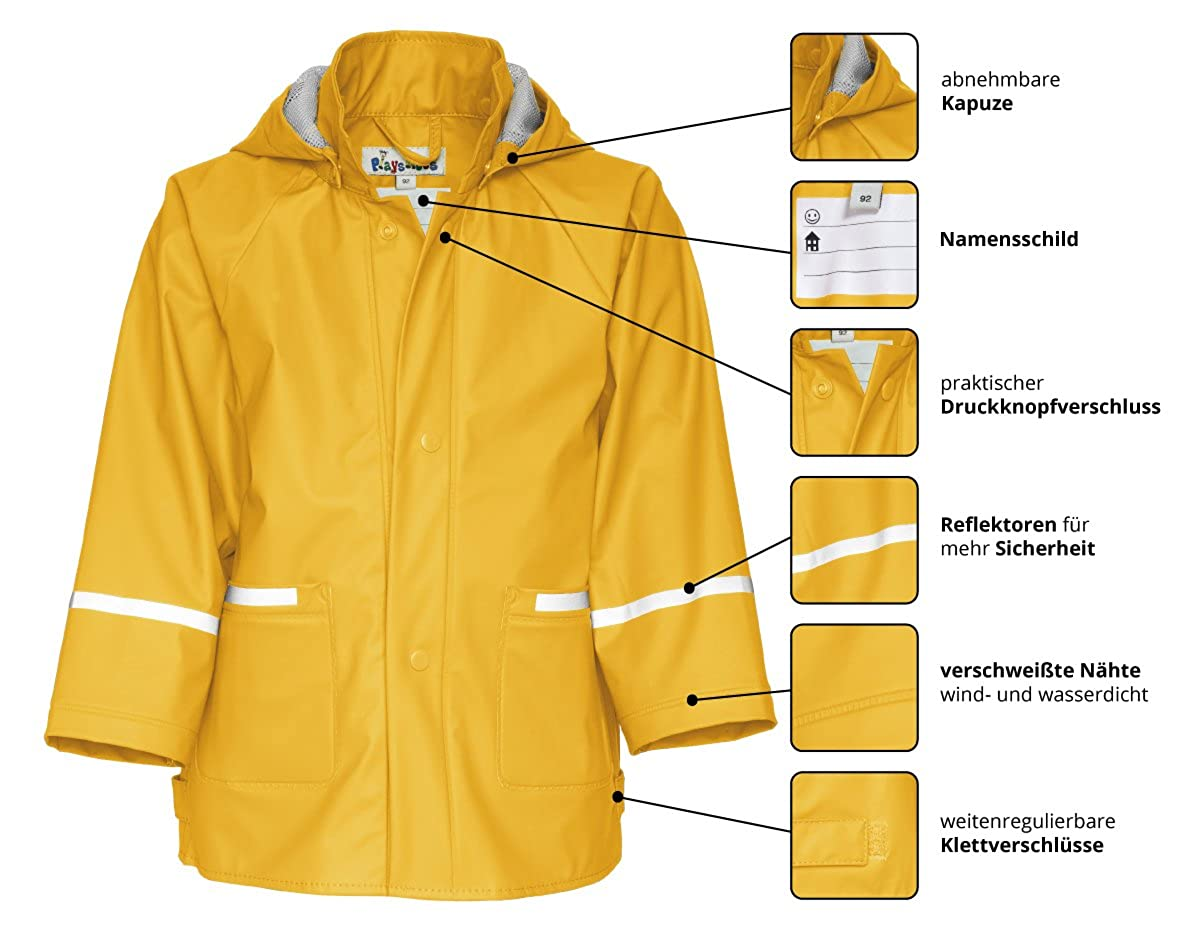 Playshoes Childrens Waterproof Reflective Rain Jacket /É