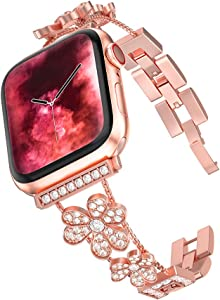TILON Bling Bands Compatible for Apple Watch 38/40mm Series 5/4/3/2/1, Adjustable Stainless Steel Metal Link iWatch Wristband studded with Czech Rhinestone Jewelry Bracelet for Women(Rose Gold)
