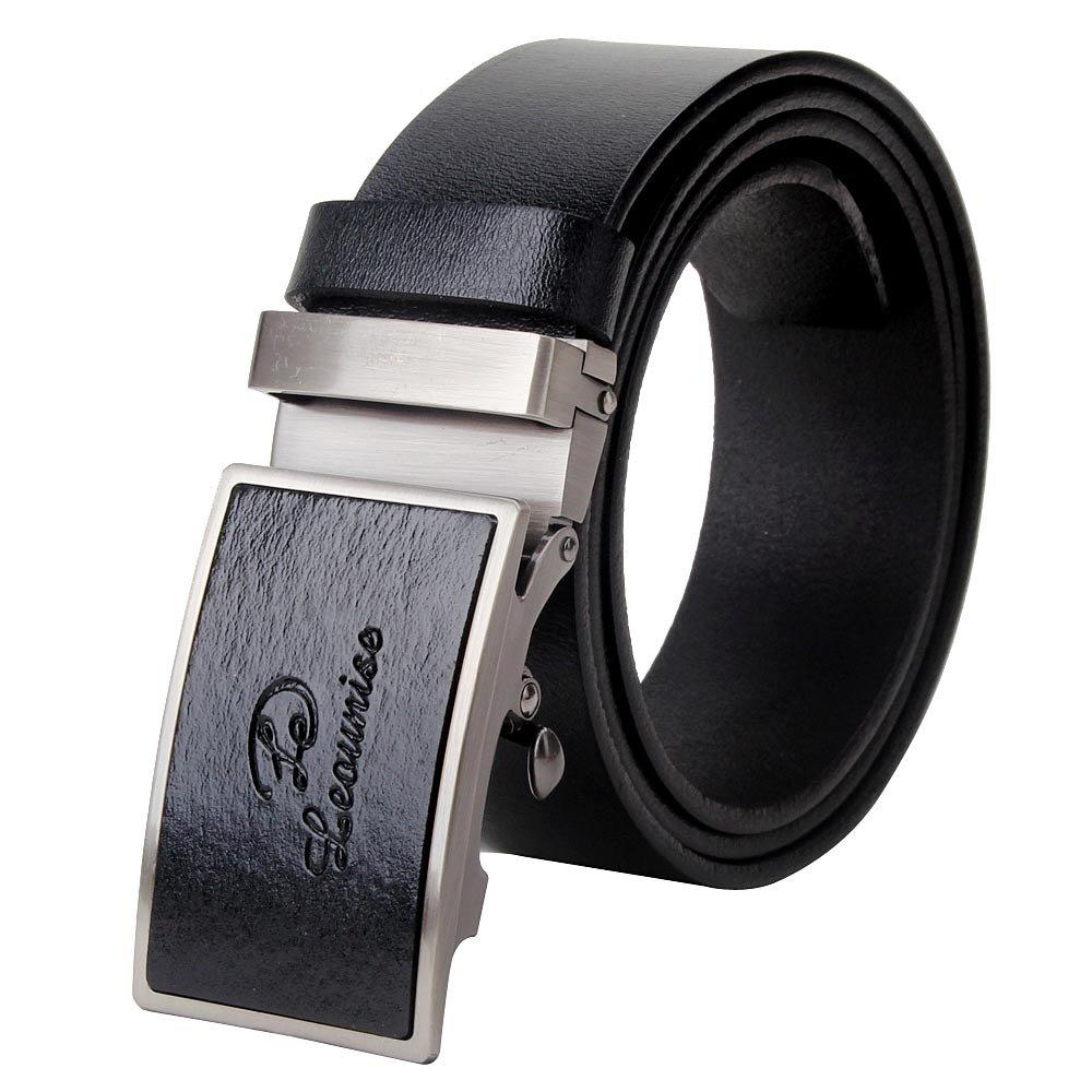 Vbiger Letter Buckle Men's Dress Belt Ratchet Belt 35mm Wide Strap