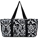 N. Gil All Purpose Open Top 23'' Classic Extra Large Utility Tote Bag 3 (Damask Black)