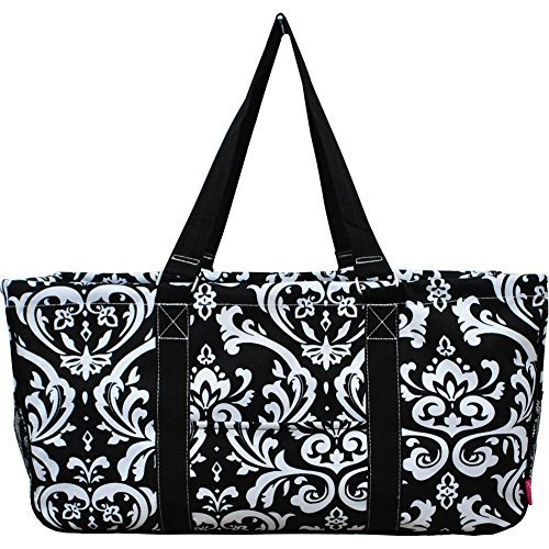 N. Gil All Purpose Open Top 23'' Classic Extra Large Utility Tote Bag 3 (Damask Black) by N.Gil (Image #1)
