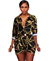 PrettySoul Women's Vintage Stretch Long Sleeve Floral Print Dashiki Button Down Shirt Dress Tunic Top Blouse