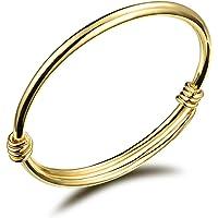 "TEMICO Adjustable Gold Plated Bracelet Bangle for Baby Children Newborn Gift Length 4.7"" - 5.9"""