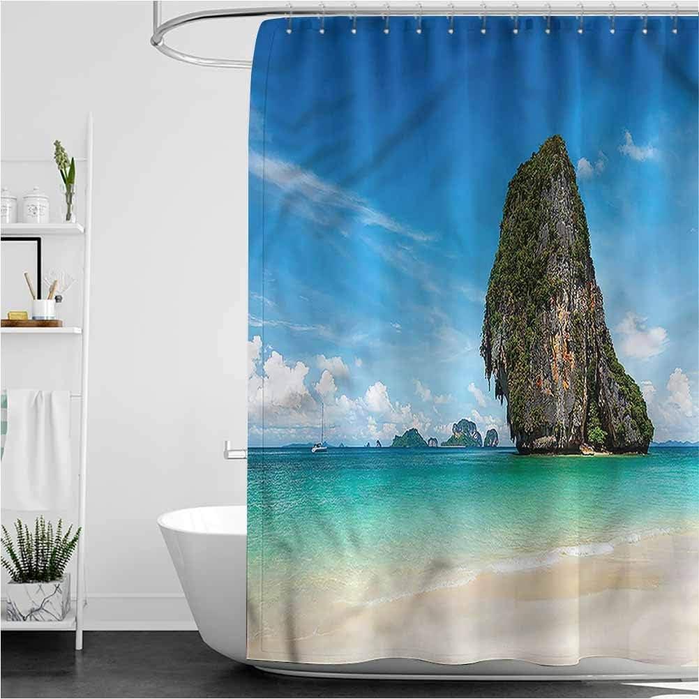 Interestlee Coastal Shower Curtain Set Tropical White Sand Krabi Waterproof Summer Bath Decor, 72 x 78 Inch