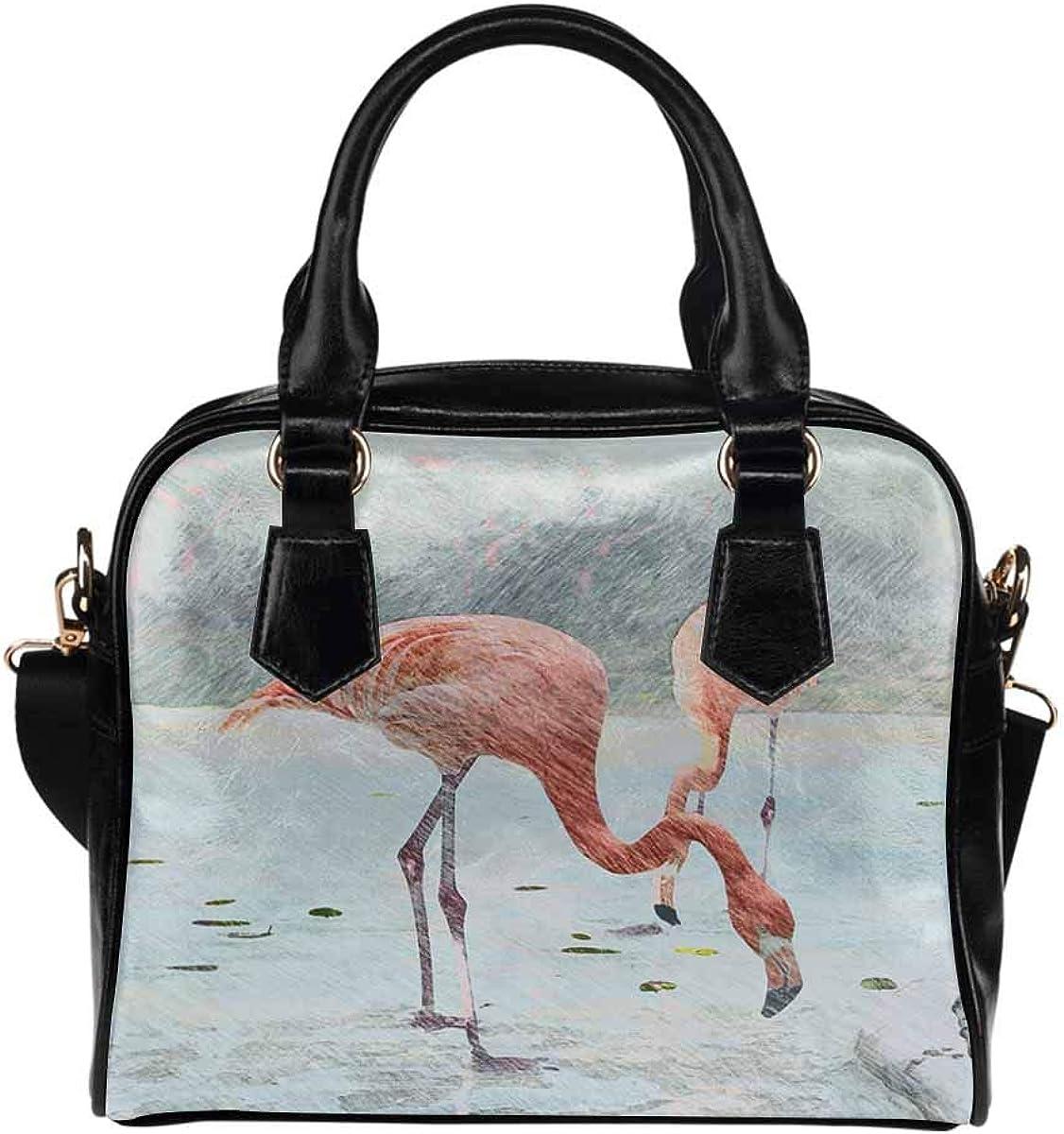 Flamingos Close Up Womens Top Handle PU Leather Shoulder Satchel Bag InterestPrint Pencil Sketch