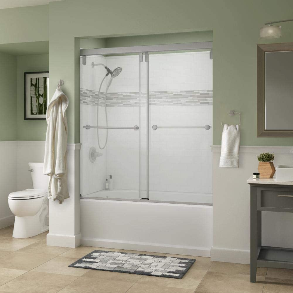 Delta Lyndall 60 X 59 1 4 In Frameless Mod Soft Close Sliding Bathtub Door In Nickel With 3 8 In 10mm Clear Glass Amazon Com