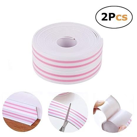 Masilla adhesiva tira esquina línea cinta borde de pared bañera sellador molde para 2 pcs