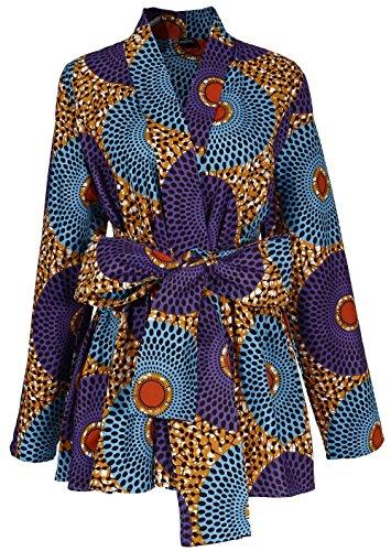 - Shenbolen Women African Traditional Batik Print Long Sleeve Shirt Dashiki Casual Cotton Shirt (XX-Large, Multicolor)