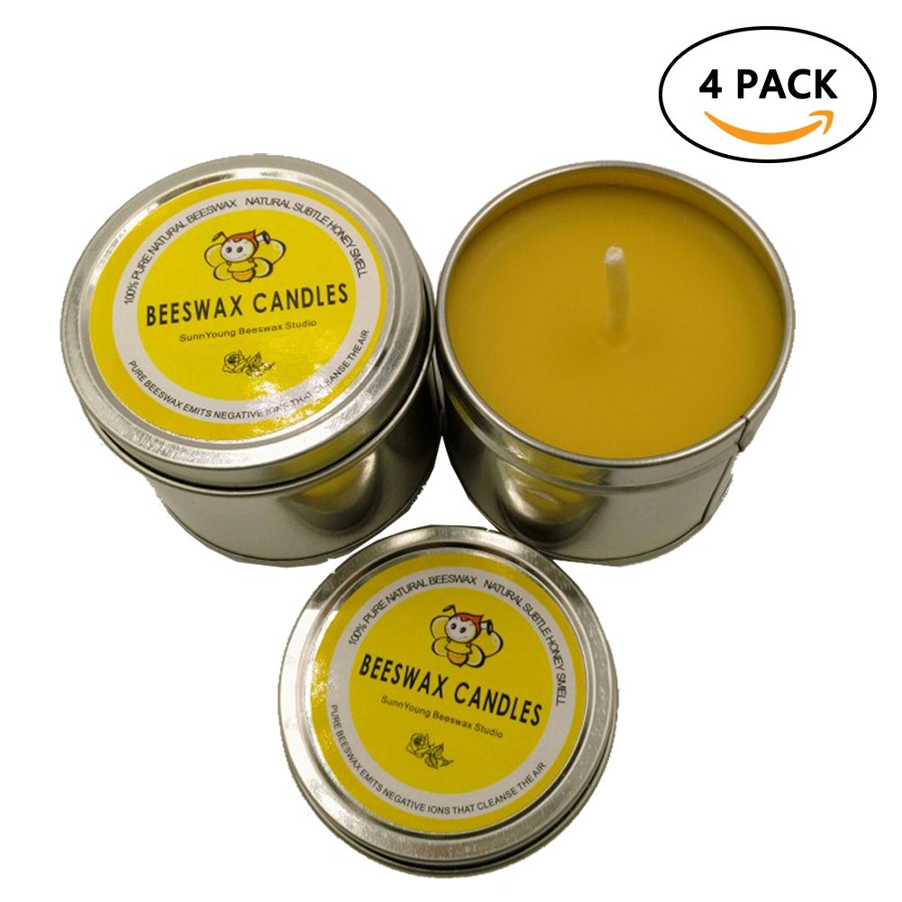 100% Pure Beeswax Candles, Unique Natural Honey Candles Set of 4 Relax Travel Tin Candle