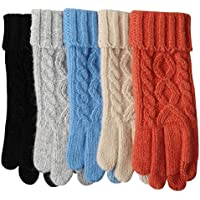 Womens Texting Touchscreen Winter Cold Weather Super Warm Cozy Wool Knit Thick Fleece Lined Gloves Mittens