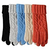 #10: Womens Texting Touchscreen Winter Cold Weather Super Warm Cozy Wool Knit Thick Fleece Lined Gloves Mittens