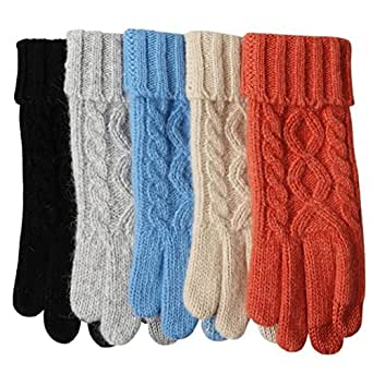 Womens Texting Touchscreen Winter Cold Weather Super Warm Cozy Wool Knit Thick Fleece Lined Gloves Mittens (One Size, Black (2018 New))