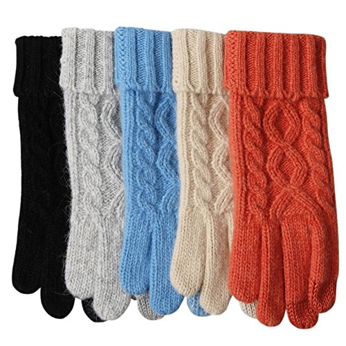Womens Texting Touchscreen Winter Cold Weather Super Warm Cozy Wool Knit Thick Fleece Lined Gloves Mittens (One Size, Blue) (Women Knit Gloves)