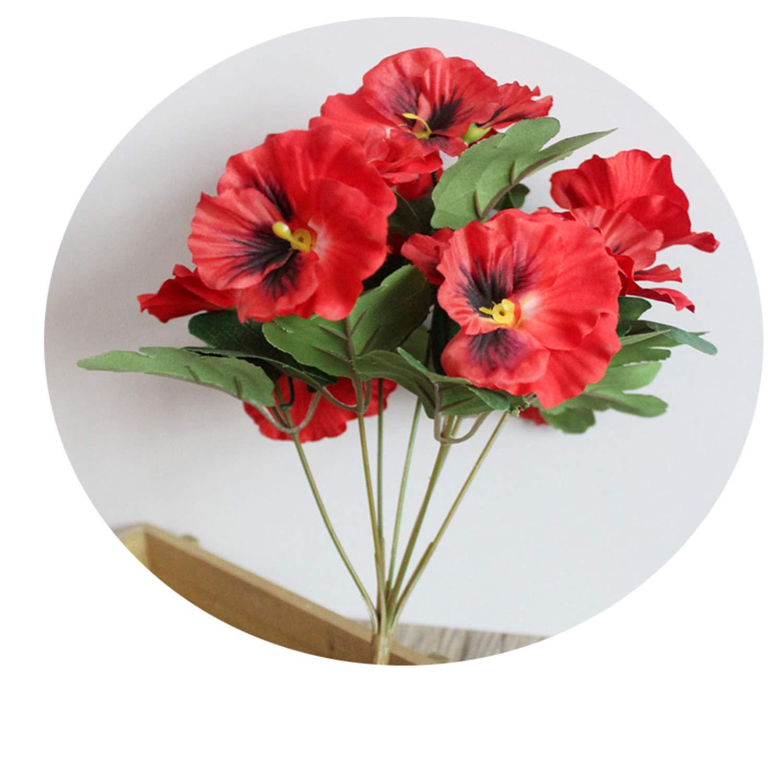 造花 シルクフラワー パンジー 人工植物 ウェディングパーティー ホームホテル テーブルデコレーション レッド NA B07Q72PRS2 レッド