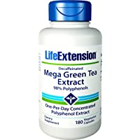 Life Extension Decaffeinated 98% Polyphenols Mega Green Tea Extract, 180 Count