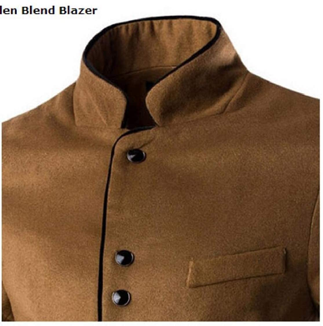 Fieer Mens Simple Stand Collar All-Match Plus Size Britain Blazer Suit Coat