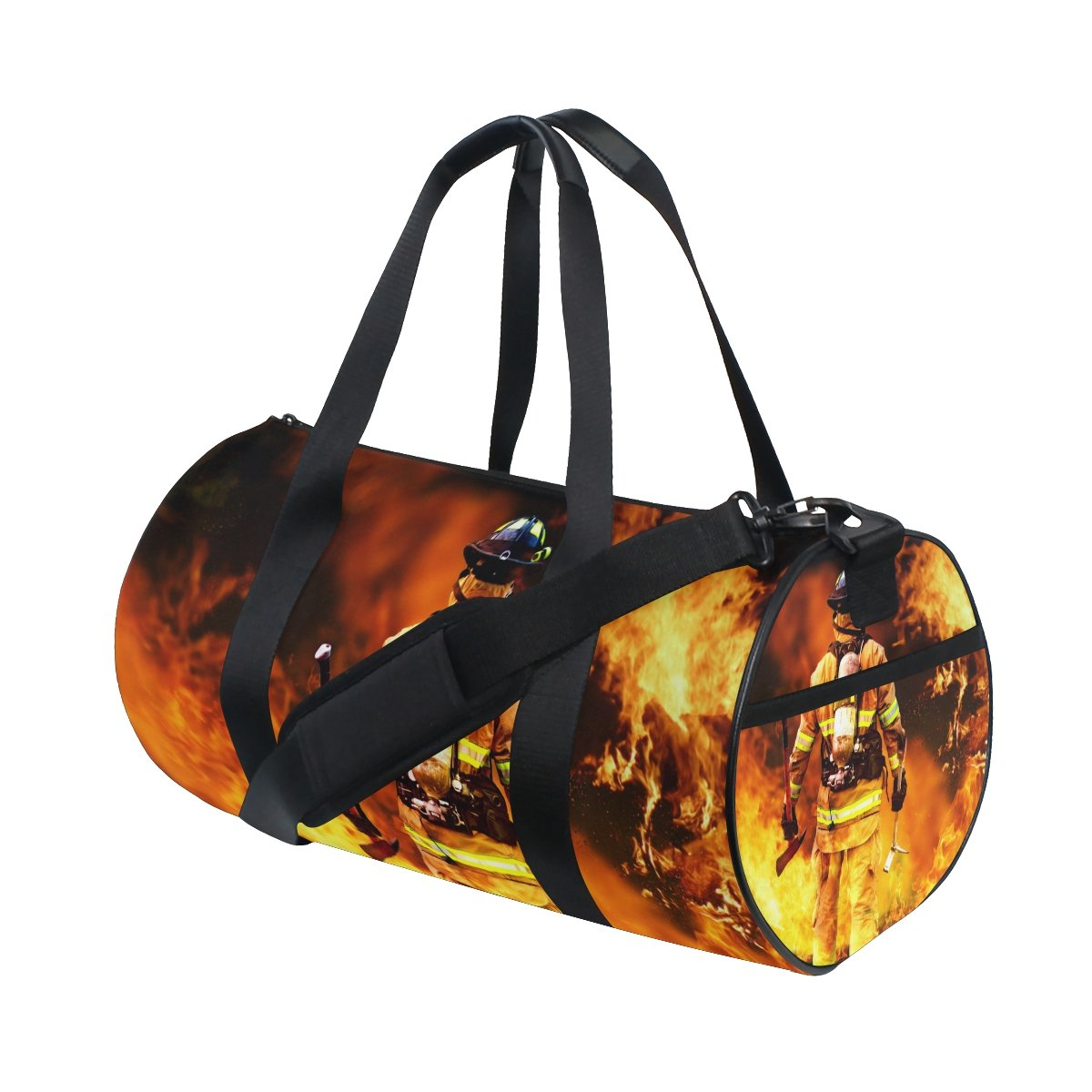 Naanle Firefighter In Fire Search Possible Survivor Gym bag Sports Travel Duffle Bags for Men Women Boys Girls Kids