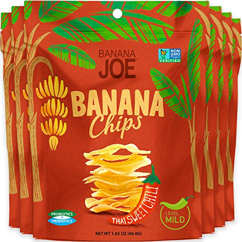 Banana Joe Chips | Prebiotic + Probiotic | Gluten Free + Non GMO | Increase Protein Absorption | (6-Pack)