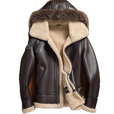 ca09d2f80 Men's Sheepskin Shearling Jacket Detachable Hooded B3 Flight Jacket ...