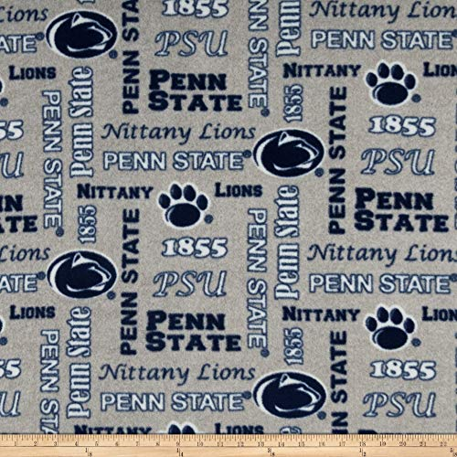 Sykel Enterprises NCAA Fleece Penn State Heather Verbiage Fabric, Team Color, Fabric By The Yard