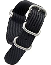 21mm Black Luxurious Military Durable Nylon Nato style Watch Straps Bands Replacements for Men