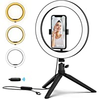 PoplarTrees Selfie Ring Light 10'' with Tripod & Cell Phone Holder and Remote Control, 3000-5500K dimmable LED Lamps, Desktop Makeup Camera Fill light for YouTube Video Recordings, Live Stream, Makeup, Photography