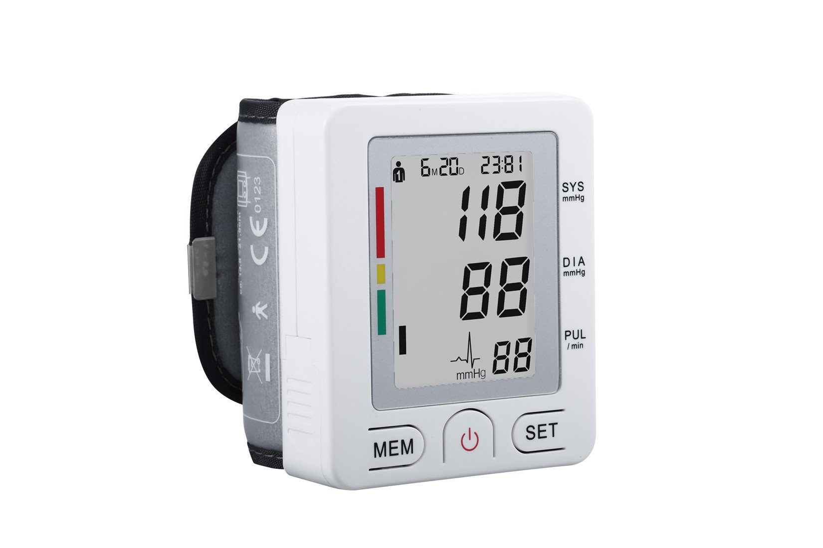 Fam-health Automatic LCD Digital Wrist Monitor with Heart Rate Detection-90 Groups Memory-Large Cuff Adjusts-Time and Date with Memory Store Last Readings, FDA Certified [2018 New Version] (White)