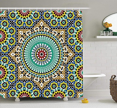 SZZWY Architectural Glazed Decorative Wall Tile Ceramic Historical Travel Destinations Image Moroccan Decor Collection Polyester Fabric Bathroom Shower Curtain with Hooks Khaki Blue ()