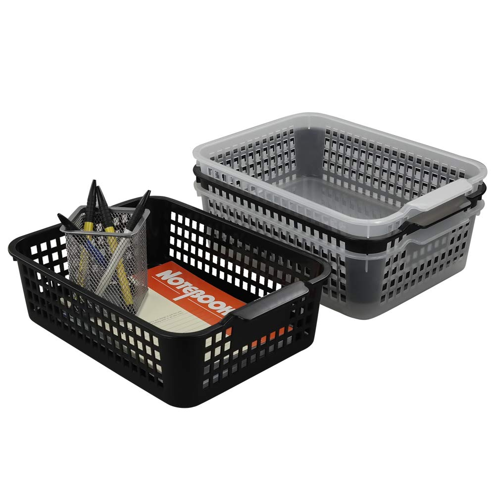 Lesbye 4-Pack Plastic Baskets for Storage, Kitchen Office Storage Baskets, 29.5 x 21.7 x 9 cm Lesbyes